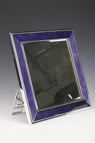 Table mirror in solid silver and blue enamel twentieth - Antique Silver Style 50