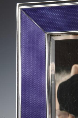 20th century - Table mirror in solid silver and blue enamel twentieth