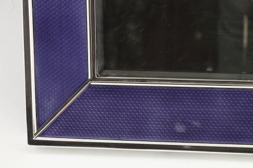 Antiquités - Table mirror in solid silver and blue enamel twentieth
