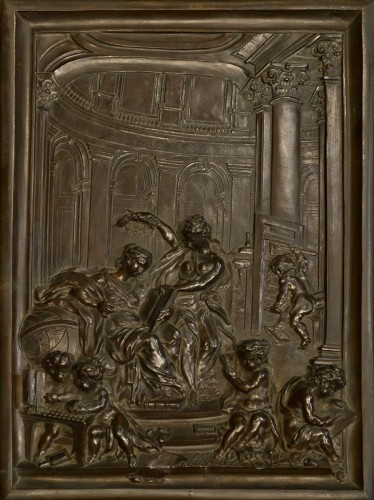A French Bronze Relief by Louis René Luce, depicting Printing
