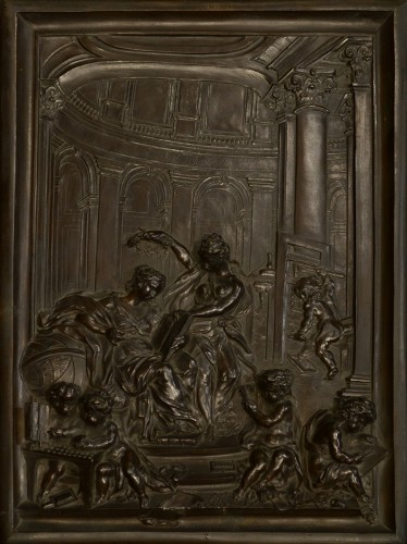 Sculpture  - A French Bronze Relief by Louis René Luce, depicting Printing