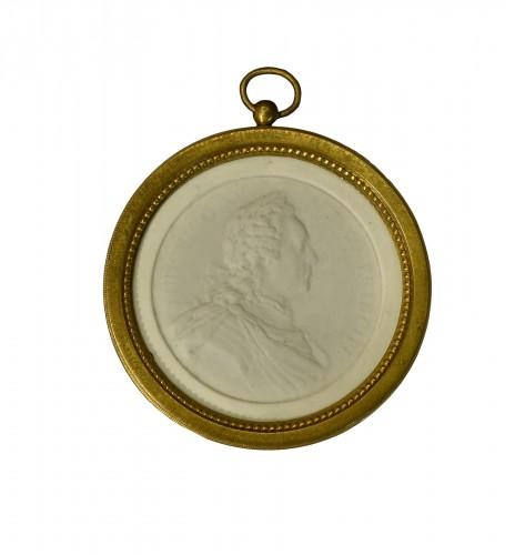 A Soft Paste biscuit Portrait of Louis XV