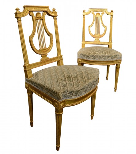 Suite of five Louis XVI period chairs with lyre back