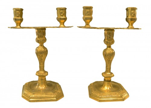 Pair of Louis XIV period two-light candlesticks