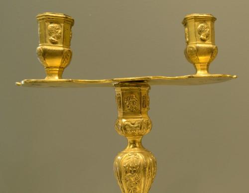 Lighting  - Pair of Louis XIV period two-light candlesticks