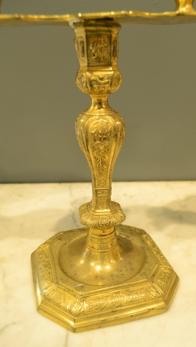 Pair of Louis XIV period two-light candlesticks -