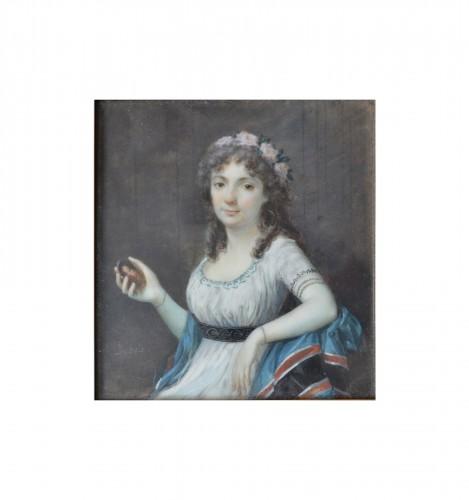 Miniature portrait of a Lady by Frédéric Dubois (Actif vers 1780-1819)