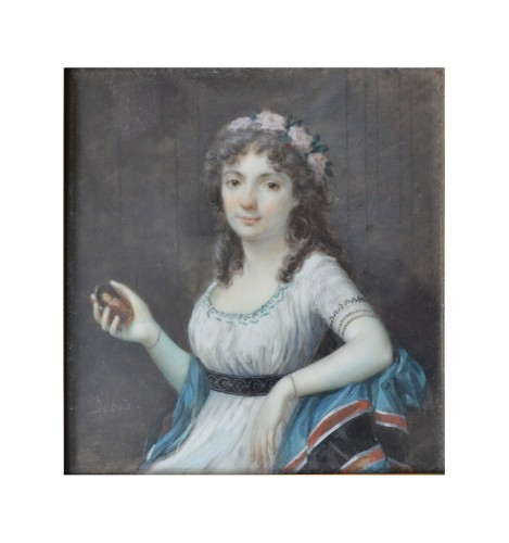 Miniature portrait of a Lady by Frédéric Dubois (Actif vers 1780-1819) - Objects of Vertu Style Louis XVI
