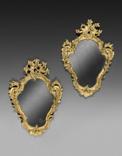 Pair of genoese Rococo Mirrors  - Mirrors, Trumeau Style