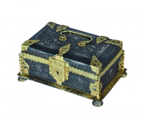 A fine and rare etched steel and gilded metal casket