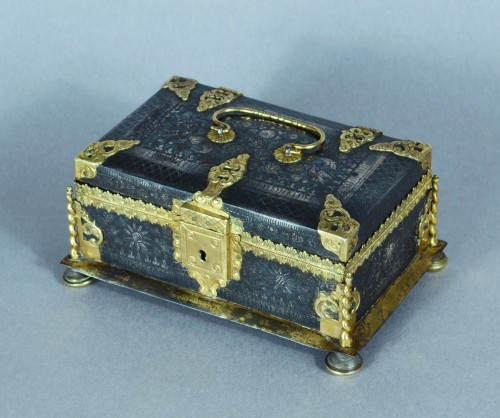A fine and rare etched steel and gilded metal casket -