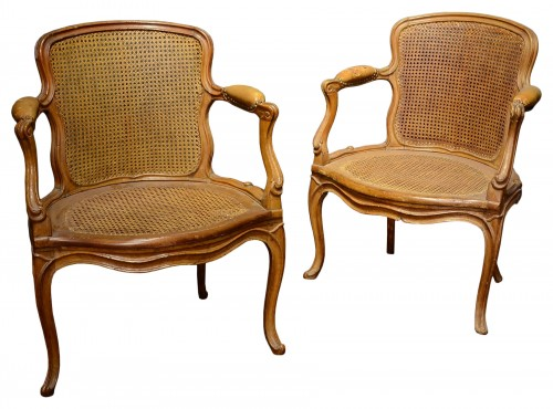 A pair of Louis XV armchairs by Nicolas Quinibert Foliot