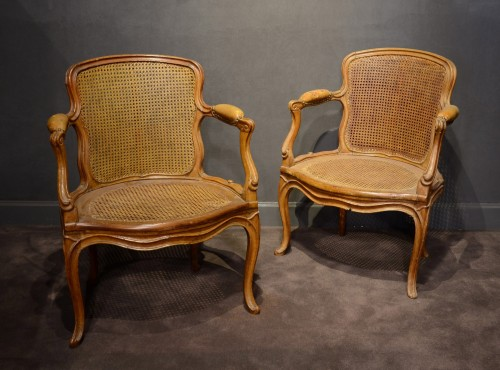 A pair of Louis XV armchairs by Nicolas Quinibert Foliot - Seating Style Louis XV