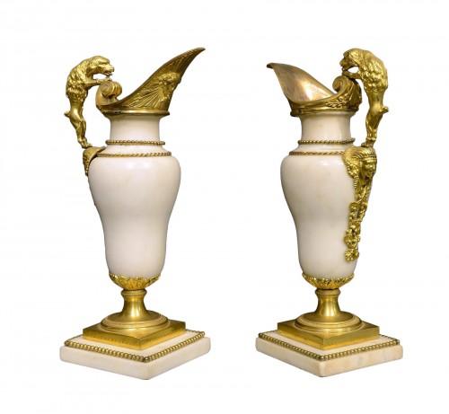 A Fine pair of Louis XVI ormolu mounted white marble ewers