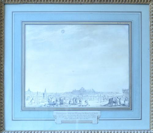 Dessin de Moreau le Jeune (1741-1814)  - Experience in the Champs de Mars - Paintings & Drawings Style Louis XVI