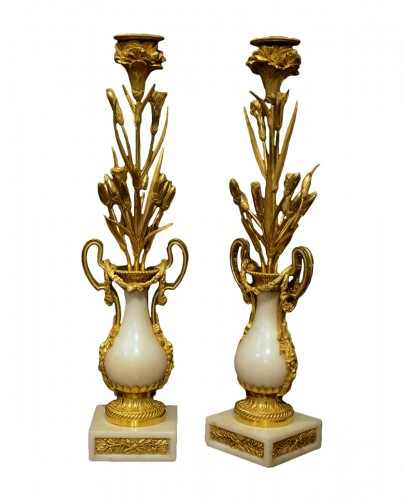 Pair of Louis XVI ormolu mounted marble candlesticks