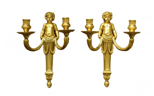 A fine pair of Louis XVI ormolu wall-lights