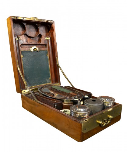 A mahogany officer`s travelling dressing and breakfast set