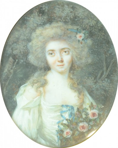 Miniature of a young woman, attributed to Périn Salbreux - Objects of Vertu Style Louis XVI
