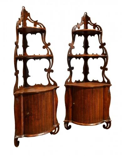 Pair of Louis XV corner shelves to hang stamped   L.N.MALLE