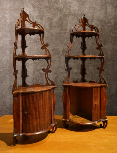 Pair of Louis XV corner shelves to hang stamped   L.N.MALLE - Furniture Style Louis XV