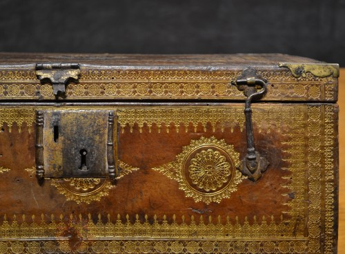 A Louis XIII gilt-tooled morocco leather box -