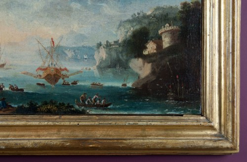 17th century Italian School - View of an imaginary port with characters - Paintings & Drawings Style