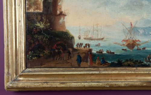 Paintings & Drawings  - 17th century Italian School - View of an imaginary port with characters