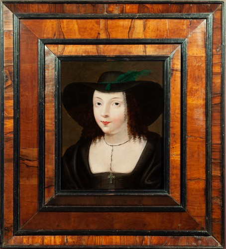 Portrait of a young woman with a large hat - Attributed to Claude Deruet (1588-1660)