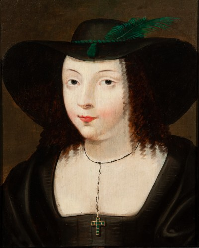 Paintings & Drawings  - Portrait of a young woman with a large hat - Attributed to Claude Deruet (1588-1660)