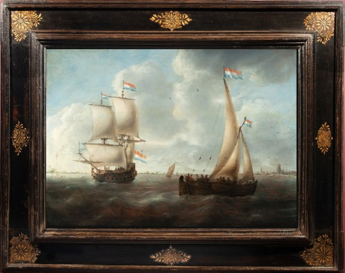 Jacob Adriaensz Bellevois (1621-1676) - Dutch ships in front of the city Dordrecht