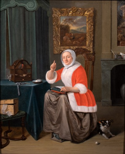 Young Woman at Her Work - Jan Tilius (1660-1719) - Paintings & Drawings Style