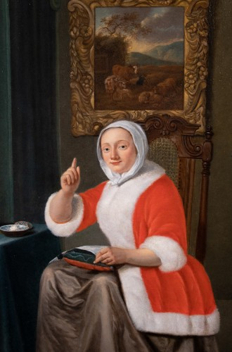 Paintings & Drawings  - Young Woman at Her Work - Jan Tilius (1660-1719)