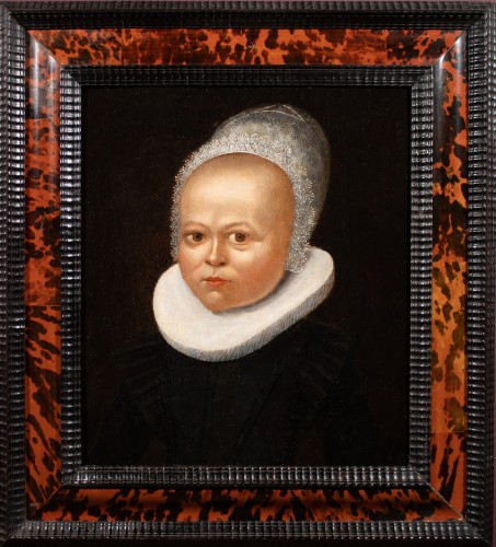 Portrait of a child with a lace bonnet - Flemish School of the 16th century