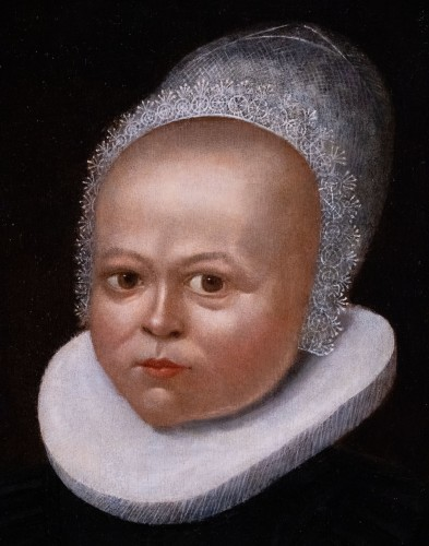 Portrait of a child with a lace bonnet - Flemish School of the 16th century - Paintings & Drawings Style Renaissance