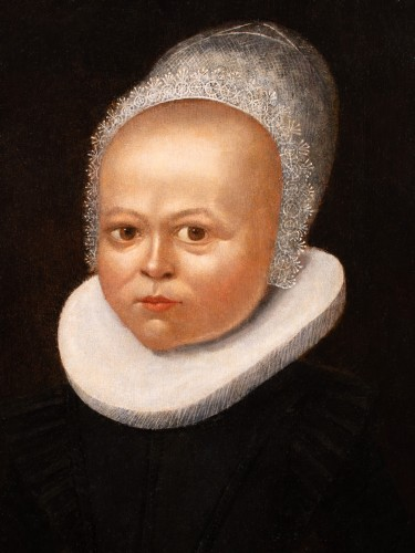 Portrait of a child with a lace bonnet - Flemish School of the 16th century -