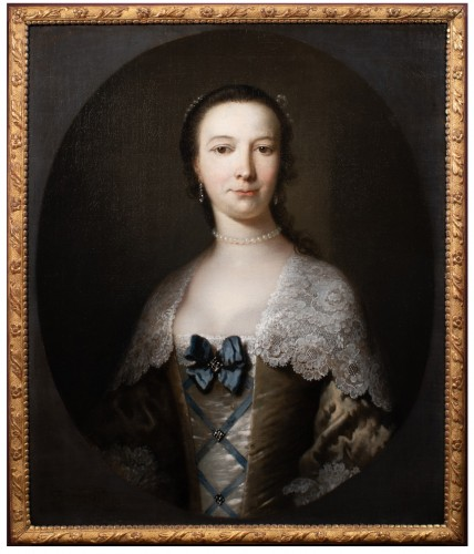Portrait of a young lady - Frans Van der Myn (1719-1783)