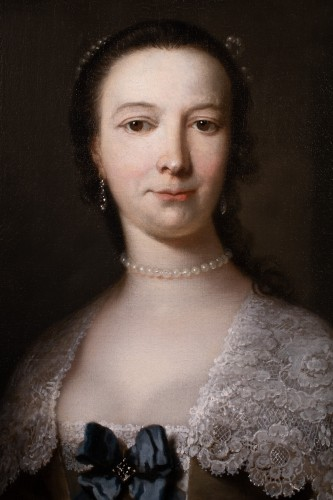 Portrait of a young lady - Frans Van der Myn (1719-1783) - Paintings & Drawings Style