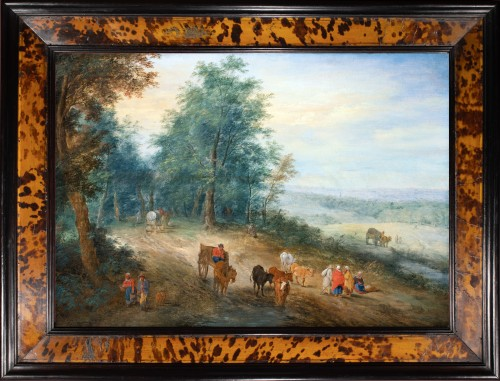 Animated landscape of carriages and villagers. Attributed to Théobald Michau (1676-1765)
