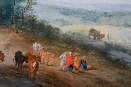 Animated landscape of carriages and villagers. Attributed to Théobald Michau (1676-1765) - Paintings & Drawings Style