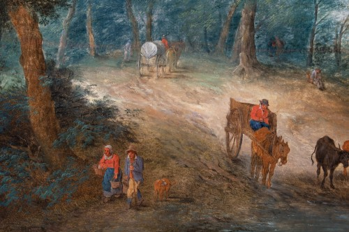 Paintings & Drawings  - Animated landscape of carriages and villagers. Attributed to Théobald Michau (1676-1765)