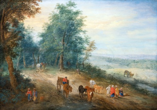 Animated landscape of carriages and villagers. Attributed to Théobald Michau (1676-1765) -