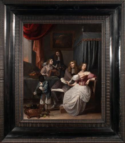 The galant meeting - Workshop of Caspar Netscher (1639-1684)