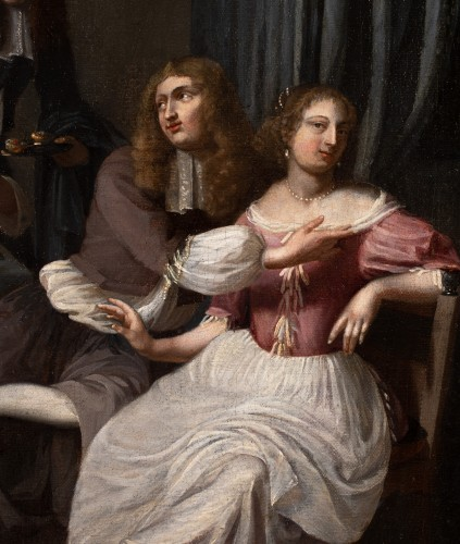 The galant meeting - Workshop of Caspar Netscher (1639-1684) - Paintings & Drawings Style