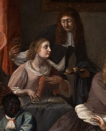 Paintings & Drawings  - The galant meeting - Workshop of Caspar Netscher (1639-1684)