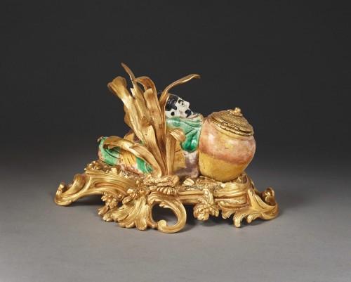 Chinese enameled porcelain inkwell - Decorative Objects Style Louis XV