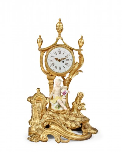 Trinket watch holder supporting a character in Meissen porcelain