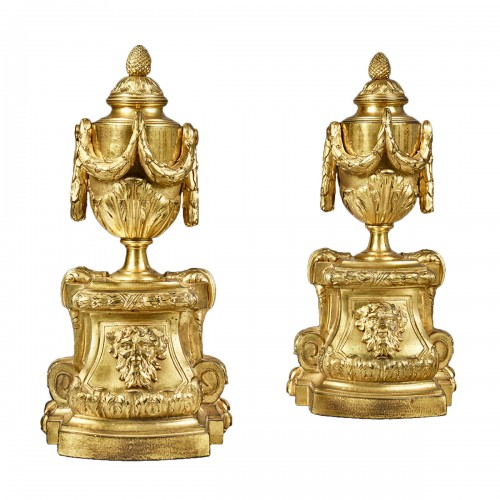 Pair of andirons with vase