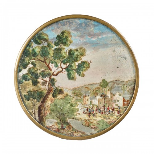 Medallion in Compigné representing a village scene