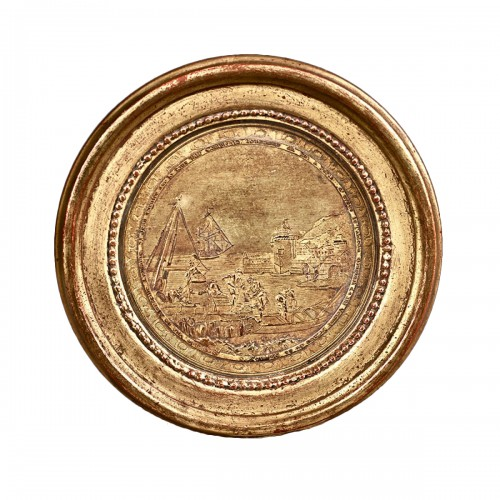 Medallion in Compigné  representing a view of the fountain of Saint John in